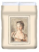 Bust Of A Young Woman Looking Down Duvet Cover