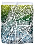 Cali Colombia City Map Duvet Cover