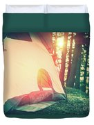 Camping In The Forest Duvet Cover