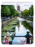 Canal And Decorated Bike In The Hague Duvet Cover