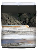 Canary Spring At Mammoth Hot Springs Upper Terraces Duvet Cover