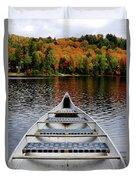 Canoe On A Lake Duvet Cover