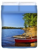 Canoe On Shore Duvet Cover