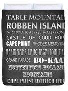 Cape Town Famous Landmarks Duvet Cover
