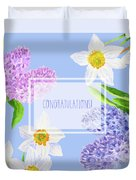 Card With Spring Flowers Duvet Cover