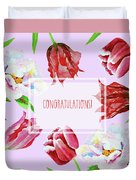 Card With Tulips And Peonies Duvet Cover