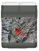 Cardinal On Icy Branches Duvet Cover