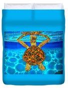 Caribbean Hawksbill Sea Turtle Duvet Cover