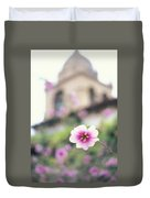Carmel Mission With Flowers Duvet Cover