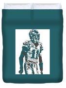 Carson Wentz Philadelphia Eagles Pixel Art 6 Duvet Cover