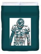 Carson Wentz Philadelphia Eagles Pixel Art 7 Duvet Cover