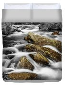 Cascading Water And Rocky Mountain Rocks Duvet Cover