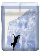 Cat Jumping From A Wall Duvet Cover