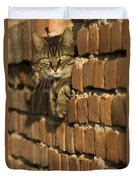 Cat On A Brick Wall Duvet Cover