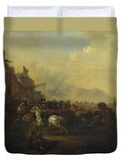 Cavalry Attacking A Fortified Place Duvet Cover
