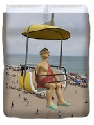 Caveman Above Beach Santa Cruz Boardwalk Duvet Cover