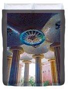 Ceiling Boss And Columns, Park Guell, Barcelona Duvet Cover