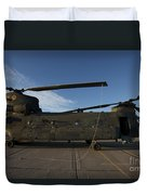 Ch-47 Chinook Helicopter On The Tarmac Duvet Cover