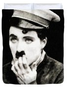 Charlie Chaplin, Vintage Actor And Comedian Duvet Cover