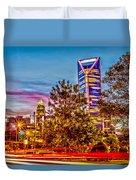 Charlotte City Skyline Early Morning At Sunrise Duvet Cover