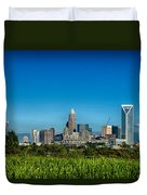 Charlotte North Carolina Cityscape Of Downtown Duvet Cover