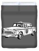 Checkered Taxi Cab Illustrastion Duvet Cover