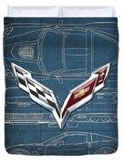 Chevrolet Corvette 3 D Badge Over Corvette C 6 Z R 1 Blueprint Duvet Cover