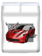 Chevrolet Corvette  C 7  Stingray With 3 D Badge  Duvet Cover