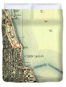Chicago Old Map Duvet Cover