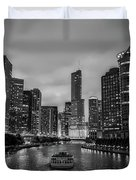 Chicago River Sunset Duvet Cover
