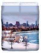 Chicago Skyline In Winter Duvet Cover by Paul Velgos