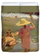 Children On The Seashore Duvet Cover by Joaquin Sorolla y Bastida