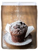 Chocolate Muffin With Powdered Sugar Duvet Cover