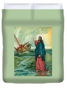 Christ Walking On The Sea Duvet Cover