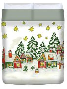 Christmas Picture In Green And Yellow Colours Duvet Cover