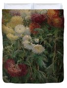Chrysanthemums In The Garden At Petit-gennevilliers Duvet Cover