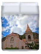 Church In Taormina Duvet Cover