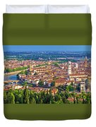 City Of Verona Old Center And Adige River Aerial Panoramic View Duvet Cover