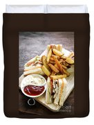 Classic Club Sandwich With Fries On Wooden Board Duvet Cover