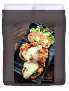 Classic  Italian Chicken Parmigiana With Cheese And Tomato Sauce Duvet Cover