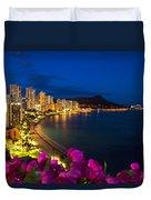 Classic Waikiki Nightime Duvet Cover by Tomas del Amo - Printscapes