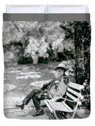 Claude Monet In His Garden Duvet Cover