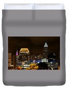 Colorful Sky Above The City On The Shore Duvet Cover