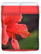 Close Up Of A Red Hibiscus Duvet Cover