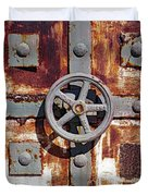Close Up View Of An Unusual Door That Is Part Of An Old Rundown Building In Katakolon Greece Duvet Cover