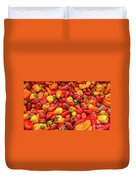 Close Up View Of Small Bell Peppers Of Various Colors Duvet Cover