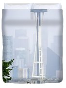 Cloudy And Foggy Day With Seattle Skyline Duvet Cover