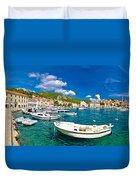 Coastal Town Of Hvar Waterfront Panorama Duvet Cover
