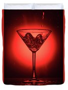 Cocktail Glass With Splashes On Red Background Duvet Cover