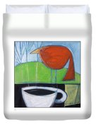Coffee With Red Bird Duvet Cover
